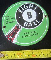 8 BALL SODA POP POOL BAR BILLIARDS PORCELAIN SIGN GAS OIL CAR 6 inch