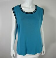 Exclusively Misook Sleeveless Crew Neckline Blouse Sweater  Large L Blue Black