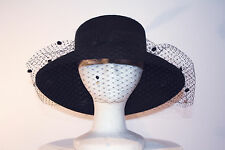 Women's Black Wool Wide Brim Hat with Satin Rose, Veil and Feathers