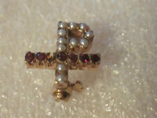 Old 14K Solid Gold Alpha Chi Rho Fraternity Sweetheart Pin w/Gems