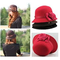 Fashion Vintage Elegant Womens Hat Fedora Cloche Flower Rose Bucket Hat Headwear