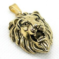 Men's Lion Head King of Animal Punk Rock Large Stainless Steel Pendant Necklace