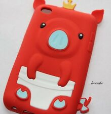 iPod Touch 4th Gen - SOFT SILICONE RUBBER GUMMY CASE COVER RED WHITE PIG PIGGIE