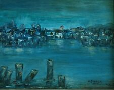 Beautiful Original Mid Century Oil on Board Cityscape Signed M. Ivanick 1965
