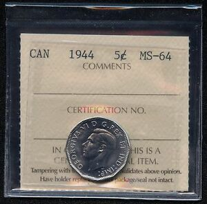 1944 Canada 5 Cent Coin ICCS Graded MS64 # QB 253