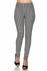 PLUS SIZE LeggingsTC/71 Buttery Soft Always Brushed Black & White Houndstooth
