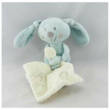 Doudou lapin bleu avec mouchoir ABC POMMETTE - Lapin Mouchoir
