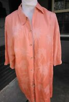 MENS PIERRE CARDIN LARGE HAWAIIAN Shirt Short Sleeve Button Up Coral Peach Ombre