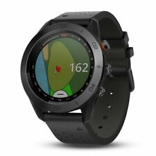 Garmin Approach S60 GPS Golf Watch with Black Leather Band 010-01702-03