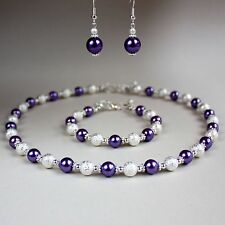 Purple pearls collar necklace earrings silver wedding bridesmaid jewellery set