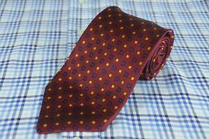 Brooks Brothers Makers Men's Red Navy & Gold Geo Woven Silk Necktie 58 x 3.5 in.