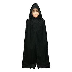 Kids Black Velvet Effect Fancy Dress Hooded Fancy Dress Wizard Cape / Cloak