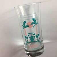Vitos Glass Cup Mug VTG Drink Sunset Palm Trees Classic Car Collectible Gift