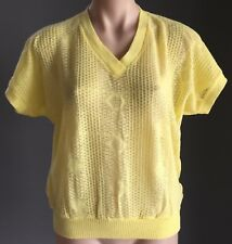 VINTAGE Fine Knit Yellow Short Sleeve Jumper/Knit Top Size 10/12