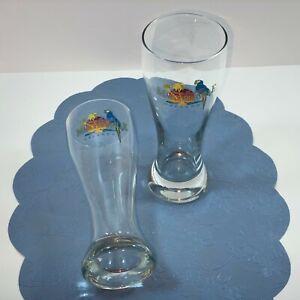 """Pair 8.5"""" Margaritaville Orlando Pilsner Beer Glasses Mint Logo Parrot Graphics"""