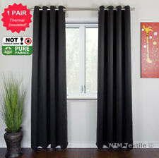 BLOCKOUT BLACKOUT 3 Layers Pure Fabric Thermal Insulated Eyelet Curtains Pair