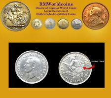 New Zealand 1942 Shilling, Rare Broken Back Variety, Sharp CH AU, MTg 80,000
