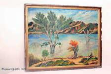 Schöne Öl Gemälde / See- Fluss- Landschaft / Signiert / E. ROEMER / 1956 / Holzr