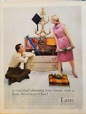 1959 Lane Cedar Chest Sweetheart Chest Furniture Couple Original Print Ad