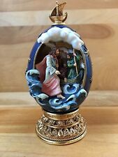 House Of Faberge Jesus Walks On Water Decorative Blue Egg '96 CP00773