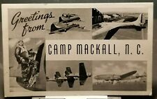 1940s WWII US ARMY Greetings from Camp Mackall North Carolina AIRCRAFT AIRPLANES