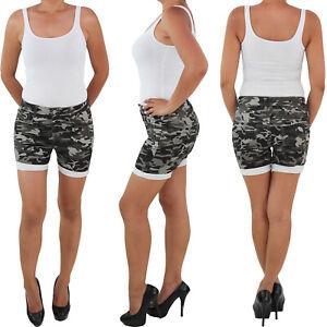 Damen Hotpants Hot Pants Shorts kurze Hose Sommer Camouflage Hüft Stretch Armee