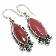 "Strawberry Quartz Gemstone Ethnic 925 Sterling Silver Earring 2.0"""