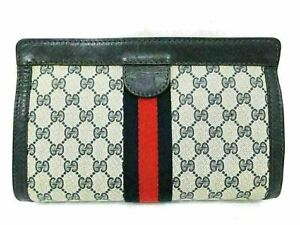 Authentic GUCCI Old Gucci Clutch Bag PVC Leather Blue 85688 B