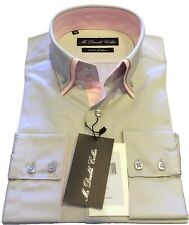 MENS SMART FIT WHITE SHIRT SMART CASUAL FORMAL WHITE DOUBLE COLLAR LONGSLEEVE