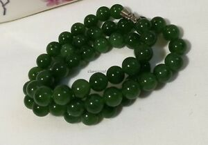 Certified Genuine Hetian spinach greenJade (和田碧玉) 10mm silver necklace L46cm