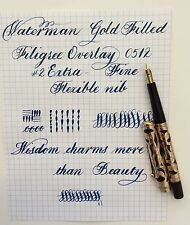 VINTAGE WATERMAN 0512 GOLD FILLED FILIGREE OVERLAY FOUNTAIN PEN FLEXIBLE XF NIB
