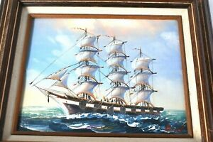 Clipper Ship Oil on Canvas Vintage signed Bird Wood Framed Nautical Seascape