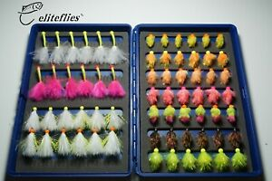 eliteflies 66 Bung Eggs Cat Bugs Blob BARBLESS box fly fishing flies trout lake