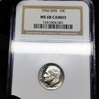 1966 SMS MS68 Cameo Roosevelt Dime 10c, NGC Graded SP68 CAM