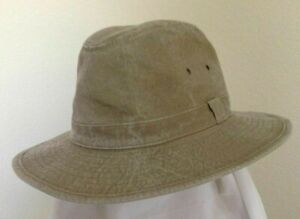 STETSON * MENS KHAKI SAFARI HAT * M or L * NEW RAIN SUN GOLF FISHING HIKING UPF