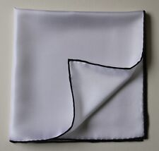 Soft silk pocket square. White with black border 40cm Hand rolled