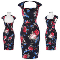 GK Retro Vintage Wiggle Cap Sleeve Hollowed Back Pinup 50s  Bodycon Pencil Dress