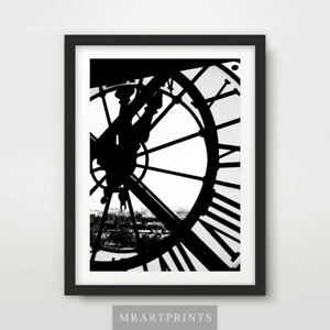 BLACK WHITE CLOCK INDUSTRIAL ARCHITECTURE ART PRINT Poster Wall Decor Picture