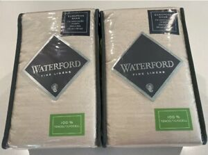 Waterford Linens Euro Sham Thayer Flax 2 PACK Cream 30x30in NEW 1166