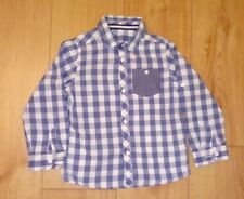 Boys Mothercare Blue and White Checked Cotton Shirt Age 4/5 Years
