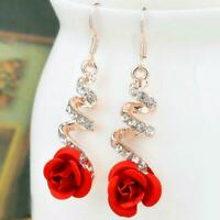 Women Vintage Red Rose Drop Earrings Gold Color Statement Dangle Earrings With C