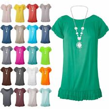 Ladies Womens Short Sleeve Peplum Ruffle Frill Necklace Summer Gypsy T Shirt Top