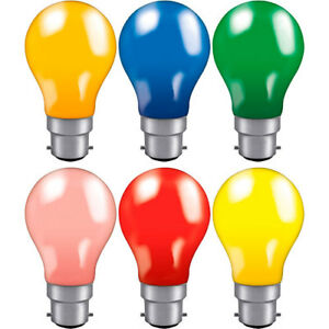5/10 X 15 25 40w 60w Coloured GLS Bulb BC (B22) Blue Green Amber Red Yellow Pink
