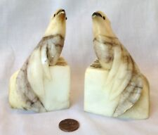 Sweetest Pair Of Vintage Marble/alabaster Cockatoo Bird Bookends Made In Italy