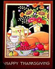 MARY ENGELBREIT Turkey Dinner Wine Flowers Fruit  Thanksgiving Greeting Card NEW