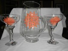 MARGARITA PITCHER WITH TWO MARGARITA GLASSES HAND PAINTED