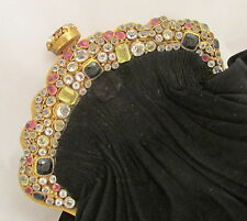 Gorgeous Hobe Bezel Set Crystal Jeweled Encrusted Frame Black Purse Handbag
