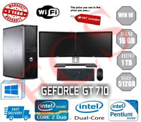 Dell Dual Screen PC  Desktop Win10 16GB/1TB or 512SSD GT710-2GB Nvidia