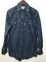 Carhartt Denim Western Shirt Pearl Snap Mens Small Workwear Blue Wash