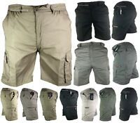 New Mens Mian Elasticated Waist Cargo Combat Plain Shorts 6 Pocket Half Pant Zip